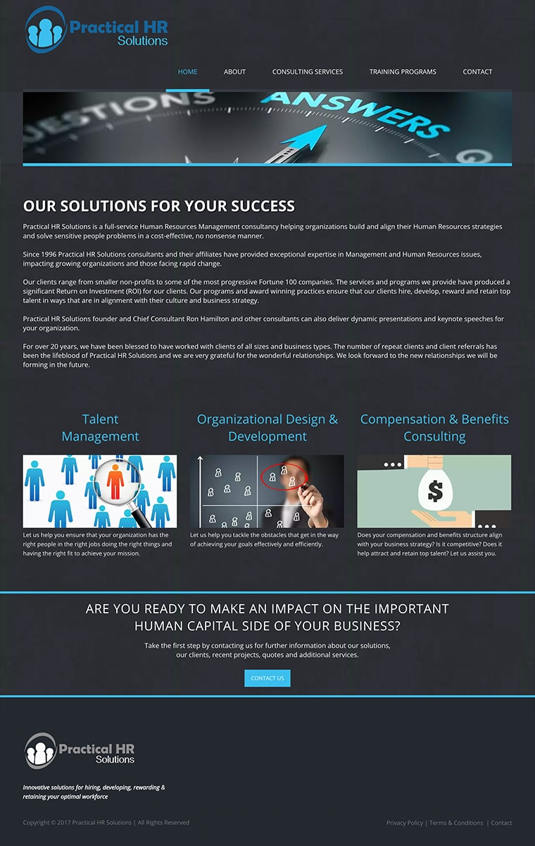 Practical HR Solutions - Website Refresh